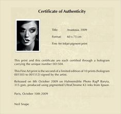 Certificate Of Authenticity Templates Free Samples Examples Format