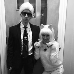 DIY Karl Lagerfeld & Choupette Halloween Costume Idea