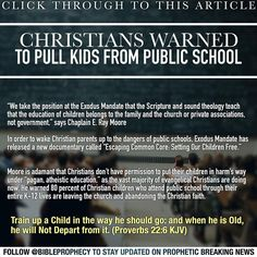 """CLICK THROUGH TO THIS ARTICLE:""""Christians Warned to Pull Kids from Public School"""" http://www.wnd.com/2015/09/christians-warned-to-pull-kids-from-public-school/"""