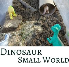 Roar! Dinosaur pretend play with nature's sensory material - dirt!
