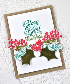O Holy Night Stamp Set: Papertrey Ink Clear Stamps Dies Paper Ink Kits Ribbon Christmas Cards To Make, Xmas Cards, Handmade Christmas, Holiday Cards, Scripture Cards, Cricut Cards, Card Tags, Cardmaking, Holy Night
