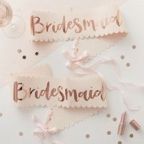 Pink and Rose Gold Bridesmaid Sashes - 2 Pack - Team Bride