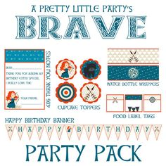 BRAVE inspired Party Pack - Princess Merida - Brave - Party Supplies - INSTANT DOWNLOAD via Etsy