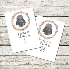 Star Wars Wedding Table Numbers Darth Vader Printable Reception Party Sci-fi Geek Nerd Floral decor decorations digital file download