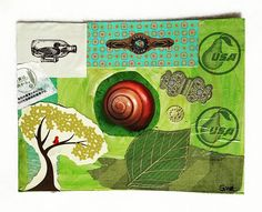 "Green postcard by Gloria for #diypostcardswap courtesy of @ihannas. ""This was a #postcard advertisement for a beauty product made from snail's goo!"