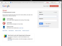 Gmail, another example of a sign up form on the right hand side