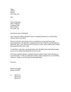 2 week resignation letter example of resignation letter 2 weeks notice