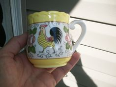 1940'S JAPAN ROOSTER & ROSES COFFEE CUP #JAPAN