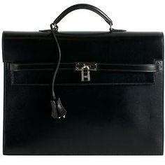 Hermes Black Tadelakt Kelly Depeche 38cm Briefcase