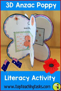Let us save you time this Anzac Day with our Anzac Day 3D Poppies. These easy to assemble 3D ornaments look great hung or displayed in the classroom or home. Flexibility is key with this resource. Choose how many templates you use (from three to nine), complete the templates and colour, then assemble and display. Commemorate Anzac Day in your classroom with our Anzac Day poppy activities. Print and go. #AnzacDay #AnzacDayActivities #AnzacDayArt