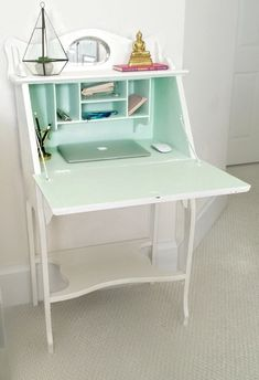 Antique Secretary desk, chalky painted white and light green Aqua Vintage, Anthropologie color trend 2016