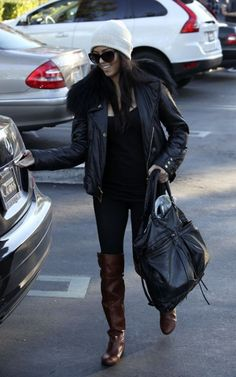 Enzos, Black Everything, Leather Jacket and Beanie.