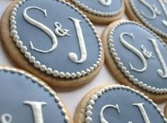Love these cookies for wedding shower or engagement party Wedding Shower Cookies, Bridal Shower Favors, Wedding Favours, Bridal Showers, Wedding Ideas, Wedding Desserts, Trendy Wedding, Monogram Cookies, Cookie Favors