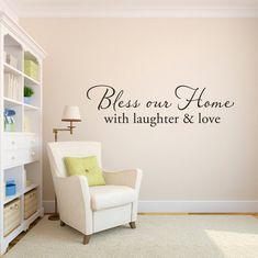 Bless our Home Wall Decal - with laughter and love decal - Phrase Wall Decal - Large on Etsy, $32.00