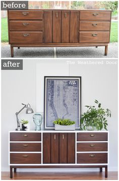 Before & After Fresh and Modern High Gloss Credenza with Geometric Drawers  from The Weathered Door