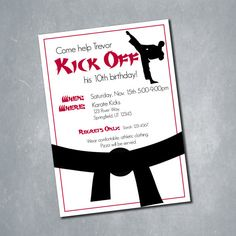 karate party invitations tae kwon do party Pinterest Karate