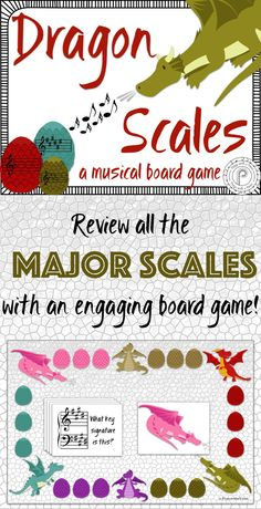 Dragon Scales helps students use all the major learning styles as they play, teach, verbalize, and draw scales and key signatures, all while playing an engaging board game. The board is open ended, allowing you to mix and match the perfect level of cards for your student, whether you need to review one scale or the whole circle of fifths!