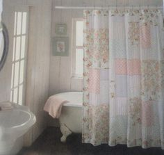 Shower Curtain Fabric Design; Pink roses patchwork - Not as cute as other photo of the same