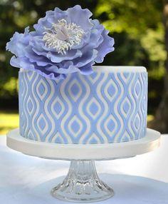 Beautiful Large Peony Flower on Patterned Cake