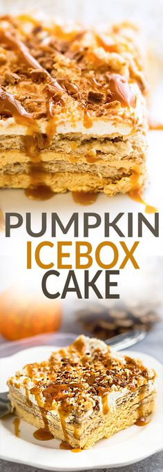 No Bake Pumpkin Icebox Cake makes the perfect make ahead fall dessert. Best of all, takes just minutes to whip up and full of cozy fall flavors! Made with layers of graham crackers and pumpkin cream cheese mousse. A delicious dessert for holiday parties and get togethers and much easier to bring than a pumpkin pie.