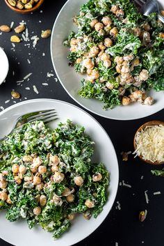 Savory charred kale tossed with roasted garbanzo beans, homemade Greek yogurt dressing, shredded parmesan, and pistachios to make the ultimate salad.