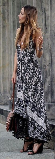Black And White Print Hippie Maxi Dress, Brown Leather Bag, Black Wedges |Boho Street Chic | Hello Shoping