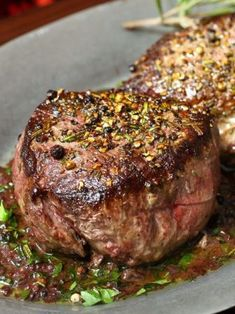 Pan Seared Filet of Sirloin with Red Wine Sauce ~ outrageous flavor!  Good for pork chops too.