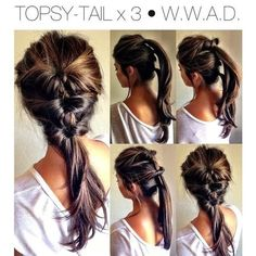 3 Topsy Tails! #Hair #hairstyle #brunette #braid #ponytail - bellashoot.com