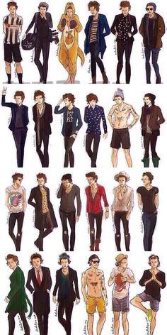 The many styles oh Harry Styles. One Direction Fan Art, One Direction Drawings, One Direction Wallpaper, Harry Styles Wallpaper, One Direction Pictures, Liam Payne, Desenhos One Direction, Desenho Harry Styles, Harry Styles Drawing