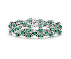 Triple Row Emerald and Pavé Diamond Halo Bracelet in 18k White Gold | Blue Nile
