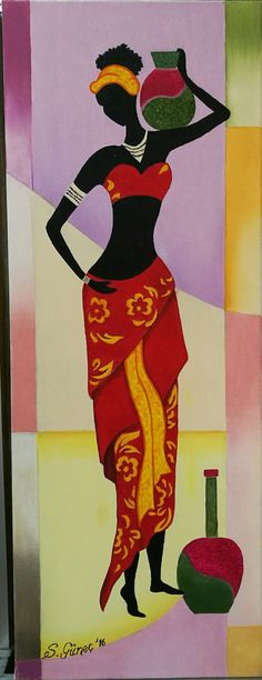 oil on canvas American Art, Art Painting, Tribal Art, Mural Art, Female Art, Art, African Art Paintings, Canvas Painting Diy, Africa Art