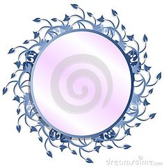 A circular frame with leaves in blue tones. An image that can be used in different projects.