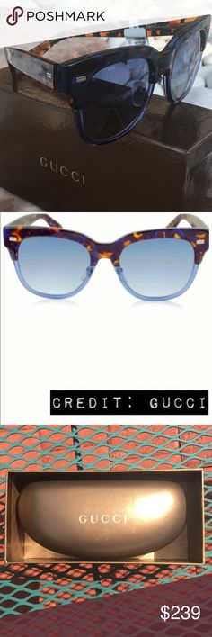 NIB Gucci Oversized Blue Tortoise Fade Sunglasses Brand new in box with original cloth & case.  Colored Blue & Brown Tortoise Acetate Frame.    Plastic Lens. 100% UV protection. Oversized Shape.  Feel free to make a reasonable offer! Gucci Accessories Sunglasses