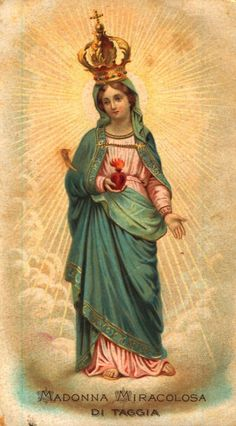 Madonna Miracolosa A vintage devotional image of the miraculous statue of Mary venerated in Taggia, Italy.