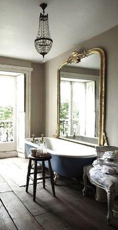 Elegant simplicity minimal bathroom oversize mirror