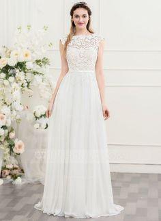 [€ A-Line / Princess Scoop Sweep / Brush .- [€ A-Linie/Princess-Linie U-Ausschnitt Sweep/Pinsel zug Chiffon Brautkleid mit Schleife(n) – JJ's House (€ A-Line / Princess Scoop Neck Sweep / Brush Train Chiffon Wedding Dress With Bow (s) - Wedding Dress Tea Length, Wedding Dress Black, Wedding Dress Chiffon, Modest Wedding Dresses, Wedding Party Dresses, Fall Dresses, Bridal Dresses, Bridesmaid Dresses, Short Sleeved Wedding Dress