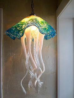 Hand Blown Glass Chandelier Jellyfish Chandelier Jellyfish Light Turquoise | eBay