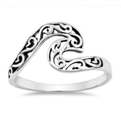 Wave Filigree  Stackable Rings 925 Sterling Silver Size 6, 7, & 8 #BijouxMore #Stackable