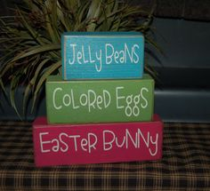 EASTER NEW Jelly Beans Colored Eggs Easter Bunny Holiday Seasonal Wood Sign Shelf Sitter Blocks Primitive Country Rustic Home Decor Gift. $26.95, via Etsy.
