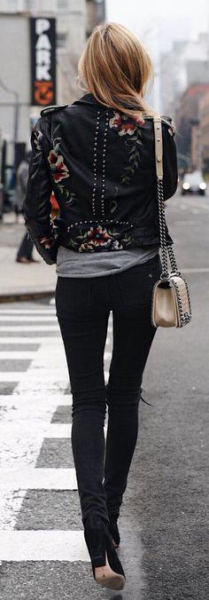 #winter #fashion /  Flower Print Black Jacket / Black Skinny Jeans / Black Booties / Beige Leather Shoulder Bag