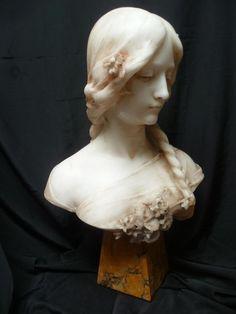 Buste En Marbre Jeune Femme 1900 Signe Fagioli Art Sculpture, Pottery Sculpture, Abstract Sculpture, Art Nouveau, Art Deco, Sculpture Romaine, L'art Du Portrait, Portraits, Greek Statues