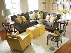 Love the color scheme in this room! Hopefully my new living room colors! Yellow Gray Room, Grey And Yellow Living Room, Grey Room, Living Room Colors, Living Room Grey, Home Living Room, Yellow Sofa, Yellow Pillows, Yellow Ottoman