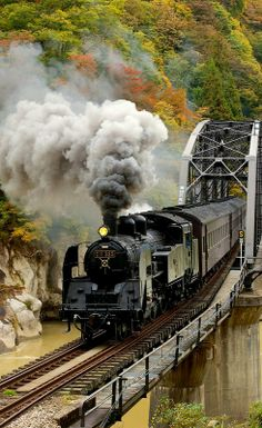 Steam train, railway tracks, on rails, smoke, transportation, photo