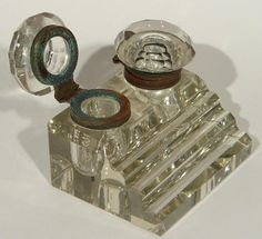 Antique Art Deco Cut Glass Copper Double Inkwell w Stepped Pen Quill Holders