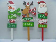 Buena venta $ number ''w santa claus snowman deer decorativo jardín patio estaca de madera, 3 estilos-imagen-Placas-Identificación del producto:728042803-spanish.alibaba.com