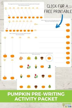 Practice pre-writing lines with your preschooler or kindergartener in fun, hands-on ways with this pumpkin-themed pre-writing activity packet. Visual Motor Activities, Fine Motor Activities For Kids, Hands On Activities, Writing Activities, Educational Activities, Writing Lines, Pre Writing, Preschool Curriculum, Preschool Activities