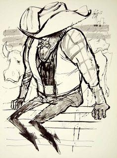1960 Print Erich Sokol Rancher Cattle Cowboy Hat Boots Caricature Windmill Art