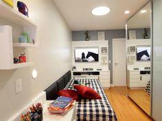 Como decorar e aproveitar cada cantinho de um quarto pequeno Room Design Bedroom, Teen Bedroom, Interior Design Elements, Decoration, Home Office, Bean Bag Chair, Architecture Design, New Homes, House Design