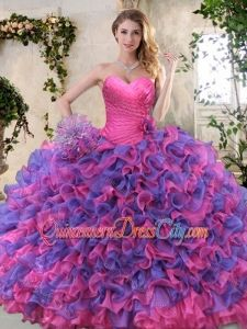 Eggplant Purple and Pink High Fashion Quinceanera Dresses with Ruffled Layers