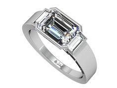Emerald Cut Diamond Engagement Ring East West 16